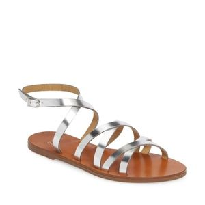 JCREW Silver Mirror Metallic Cross Strap Sandals